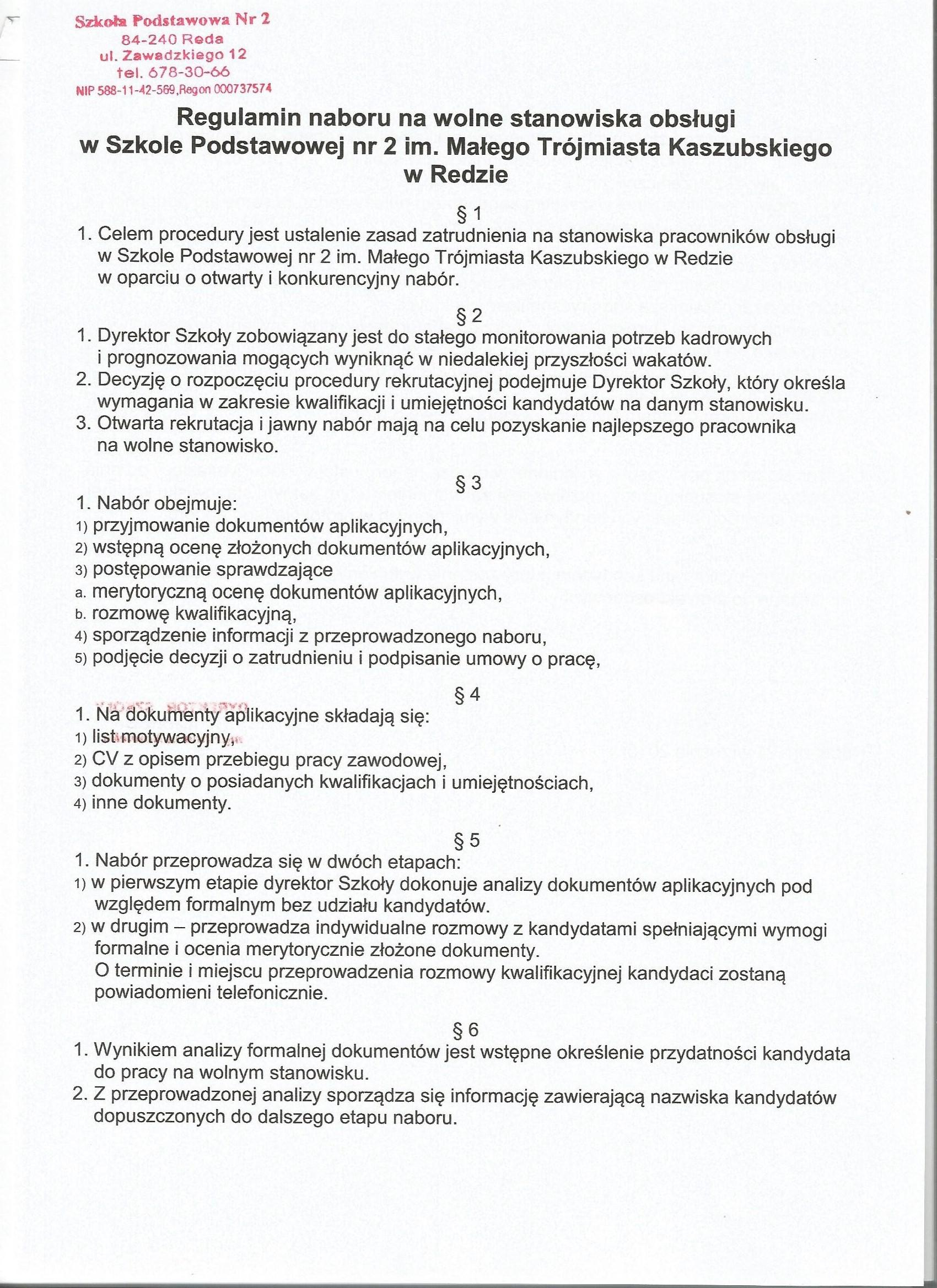 Ogłoszenie Nabór Na Stanowisko Sprzątaczki Sp2 Reda